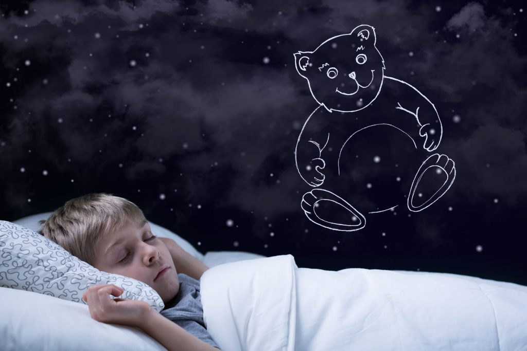 34709128 - image of little cute boy dreaming about his teddy bear