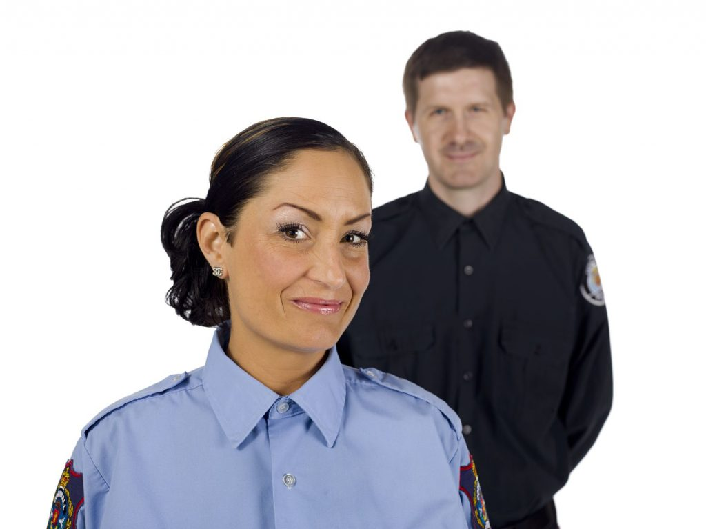 17377007 - portrait of happy police officers against white background