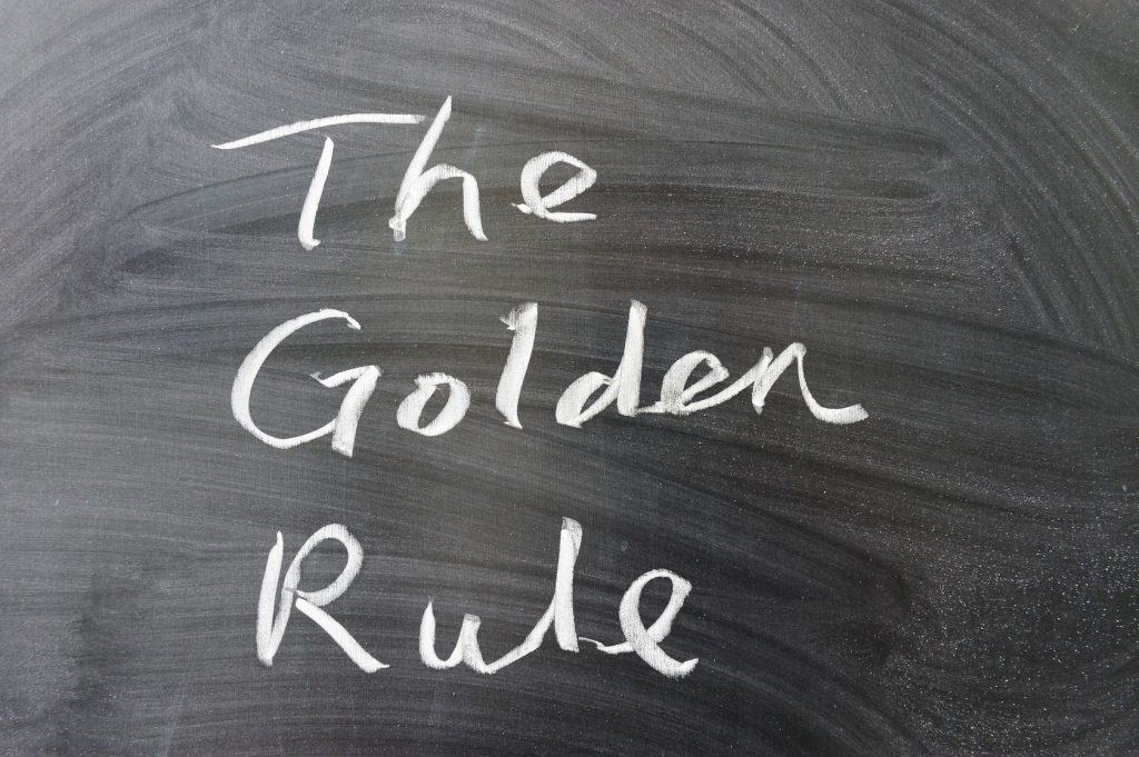14167411 - the golden rule words written on the chalkboard