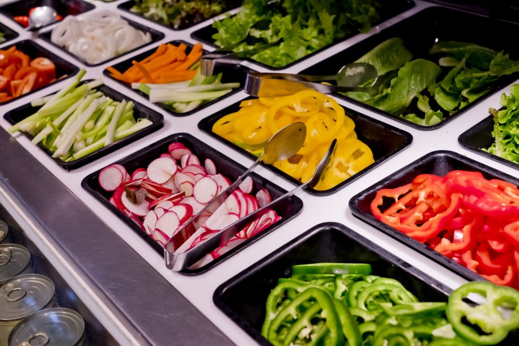 43628983 - salad bar with vegetables in the restaurant, healthy food