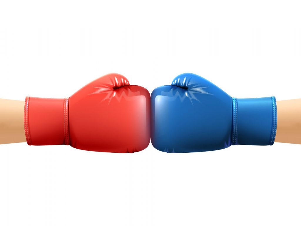 46501597 - two human hands in realistic boxing gloves punching vector illustration