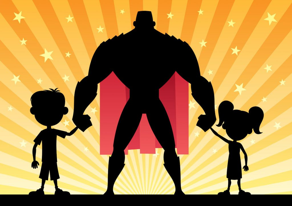 34533171 - super dad with his kids. no transparency used. basic (linear) gradients.
