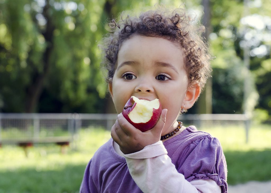 34956117 - child girl eating an apple in a park in nature.