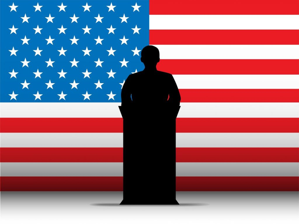 13444222 - vector - united states of america  speech tribune silhouette with flag background